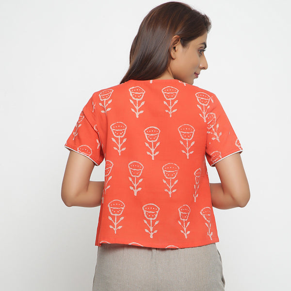 Back View of a Model wearing Dabu Print Relaxed Sleeves Button-Down Top