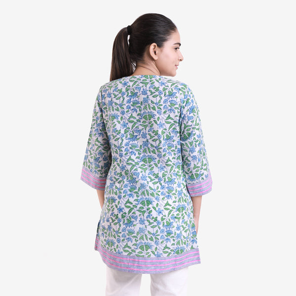 Back View of a Model wearing Block-Printed Sanganeri A-Line Top