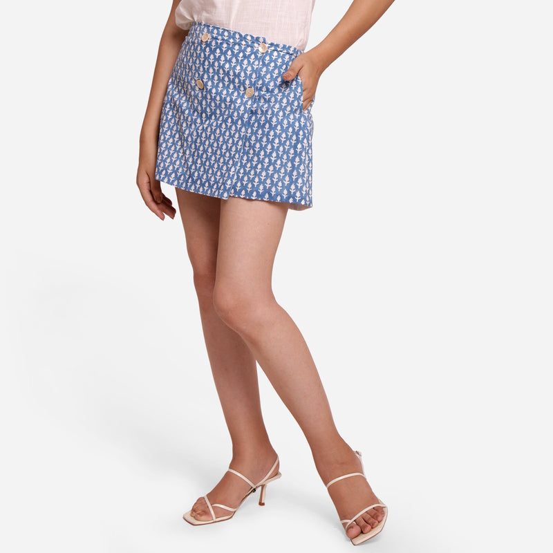 Front View of a Model wearing Blue Block Printed Button-Down Skirt