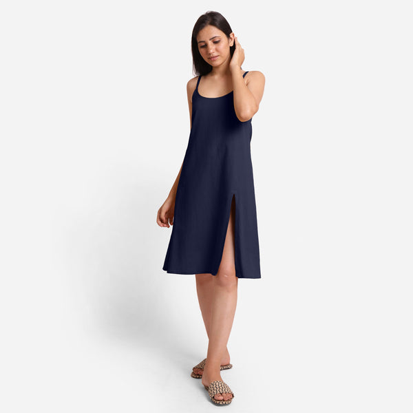 Blue Cotton Flax Strappy Slit Dress