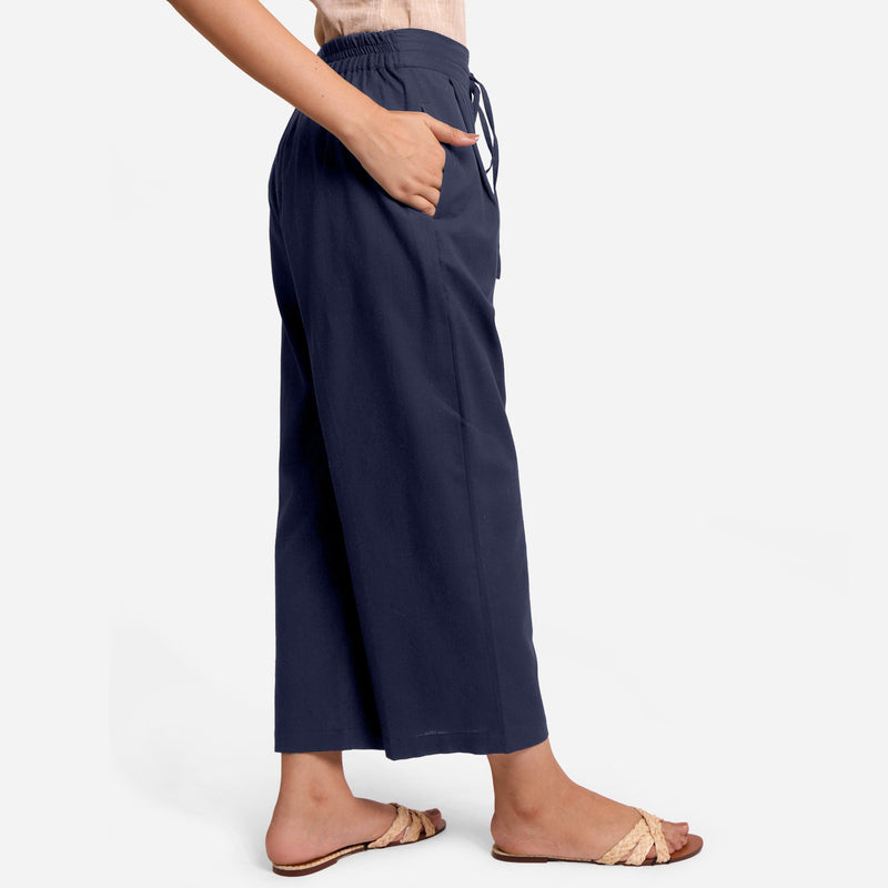 Right View of a Model wearing Blue Cotton Flax Wide Legged Pant