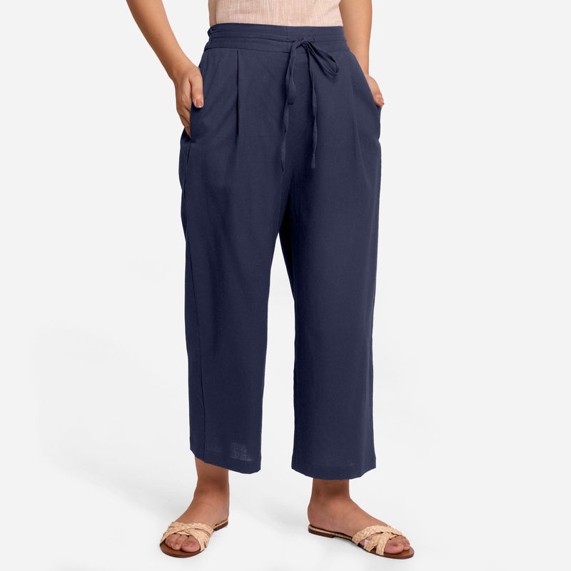 Front View of a Model wearing Blue Cotton Flax Wide Legged Pant