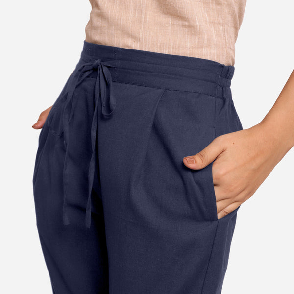Front Detail of a Model wearing Blue Cotton Flax Wide Legged Pant