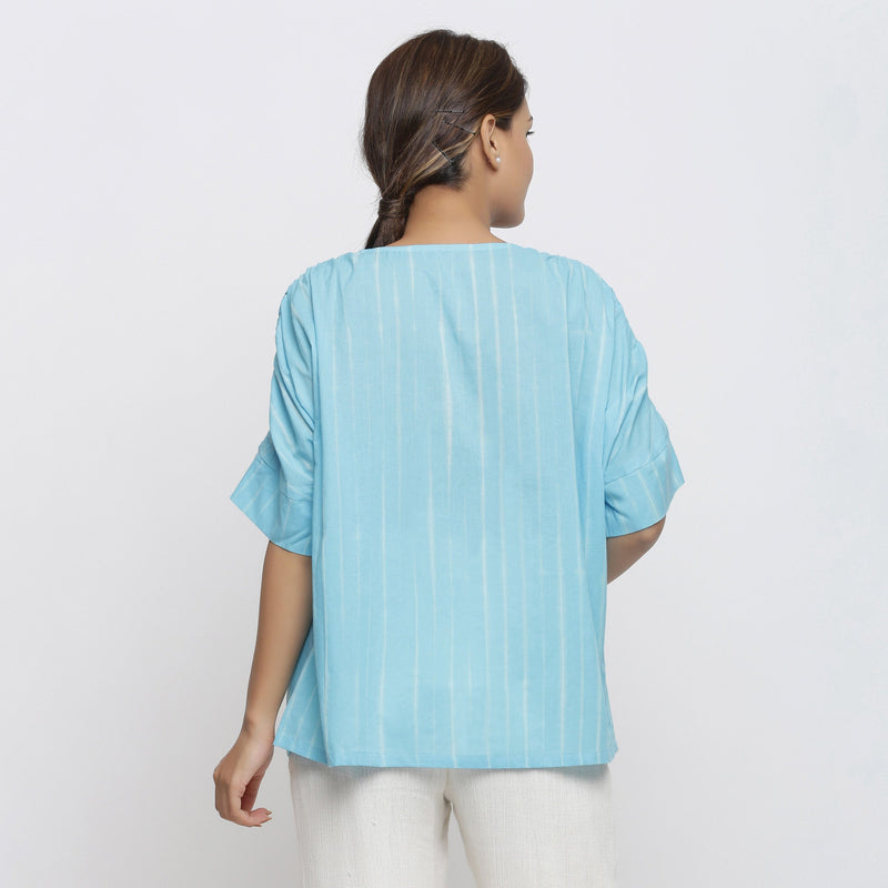 Back View of a Model wearing Blue Cotton Tie-Dyed Straight Top