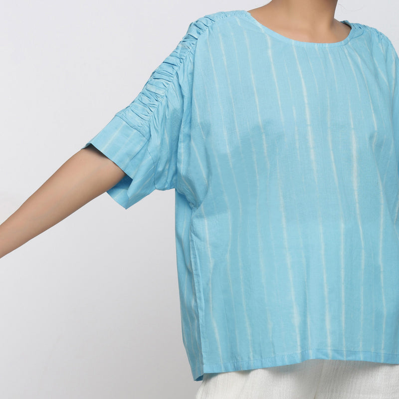 Front Detail of a Model wearing Blue Cotton Tie-Dyed Straight Top