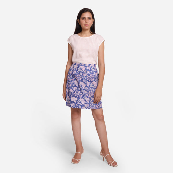 Front View of a Model wearing Blue Floral A-Line Button-Down Skirt