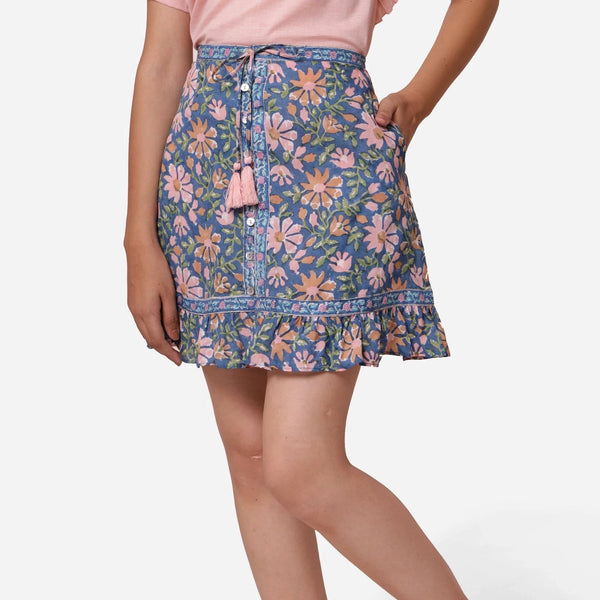 Front View of a Model wearing Blue Cotton Floral Button-Down Skirt