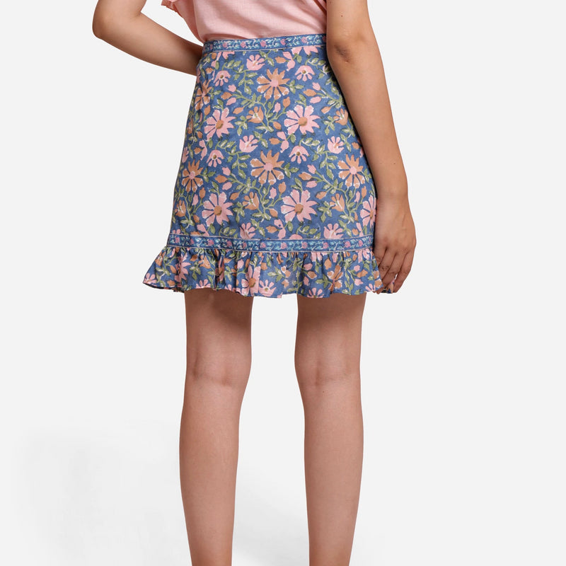 Back View of a Model wearing Blue Cotton Floral Button-Down Skirt