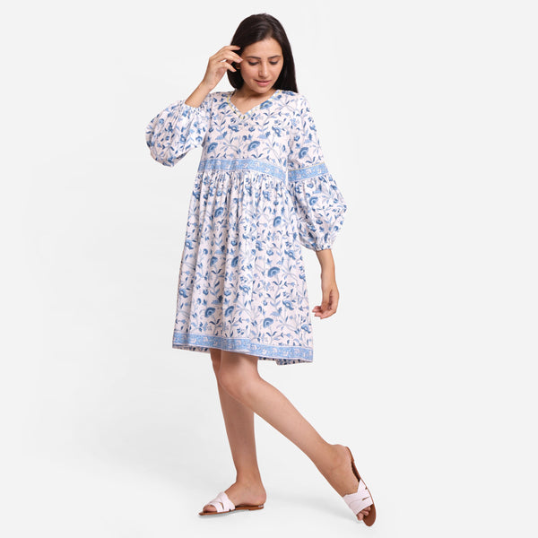 Front View of a Model wearing Blue Floral Fit and Flare Cotton Dress