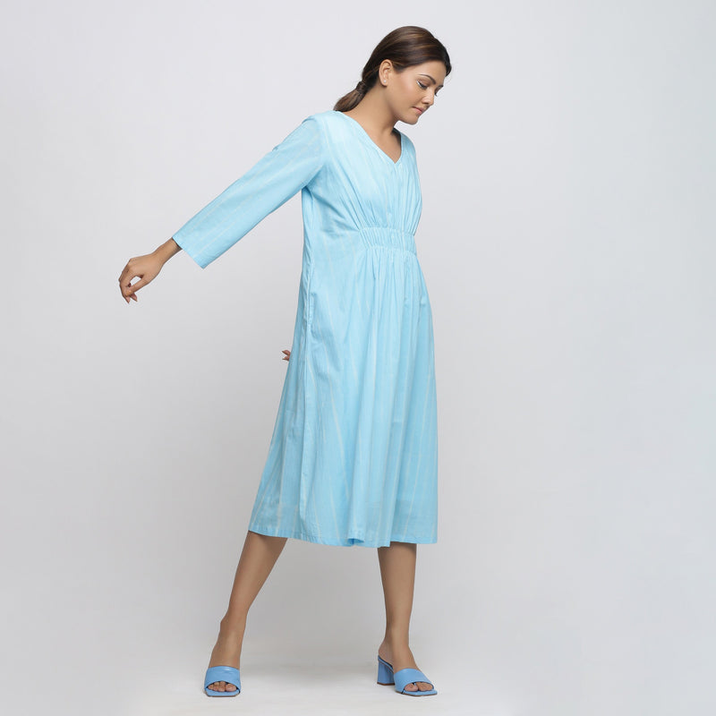 Right View of a Model wearing Blue Hand Tie-Dyed Fit And Flare Dress