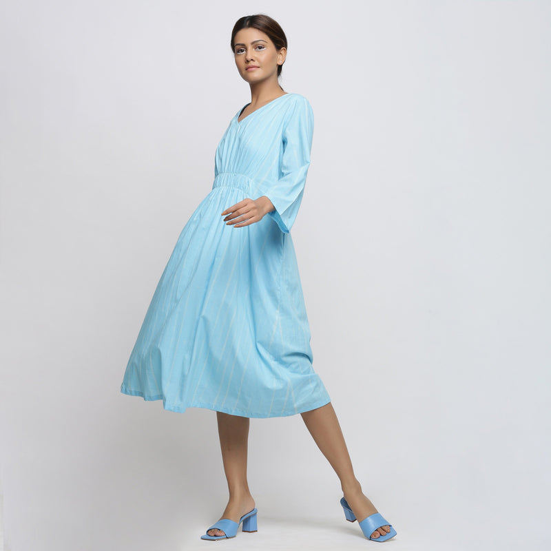 Left View of a Model wearing Blue Tie Dyed Fit and Flare Dress