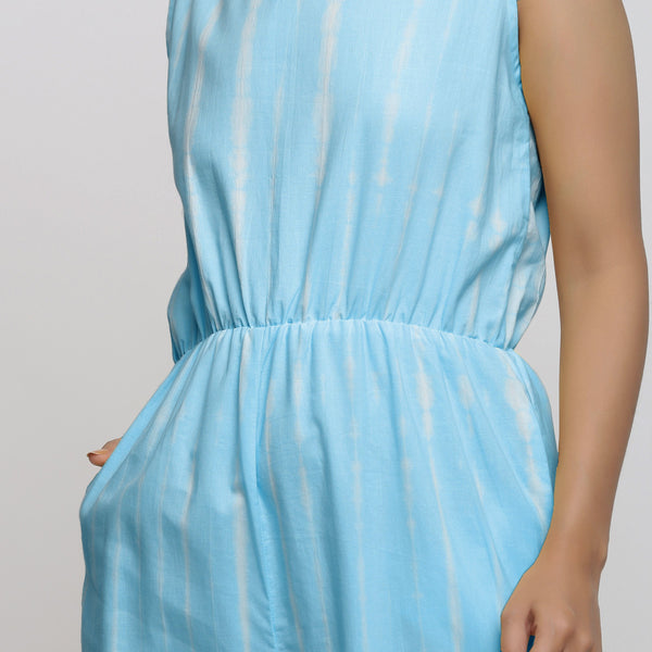 Front Detail of a Model wearing Blue Hand Tie Dyed Straight Jumpsuit