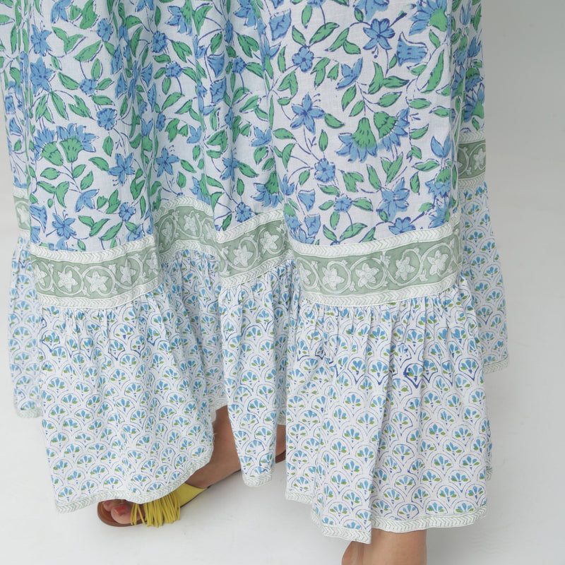 Close View of a Model wearing Blue Printed Flowy Paneled Skirt
