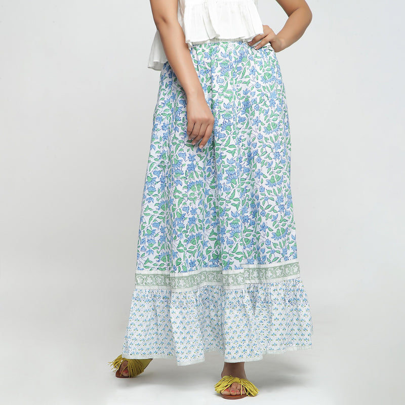Front View of a Model wearing Blue Printed Flowy Paneled Skirt