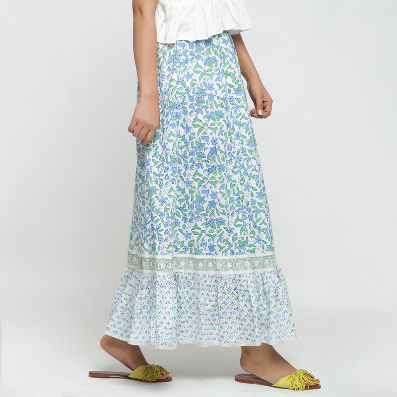 Right View of a Model wearing Blue Printed Flowy Paneled Skirt