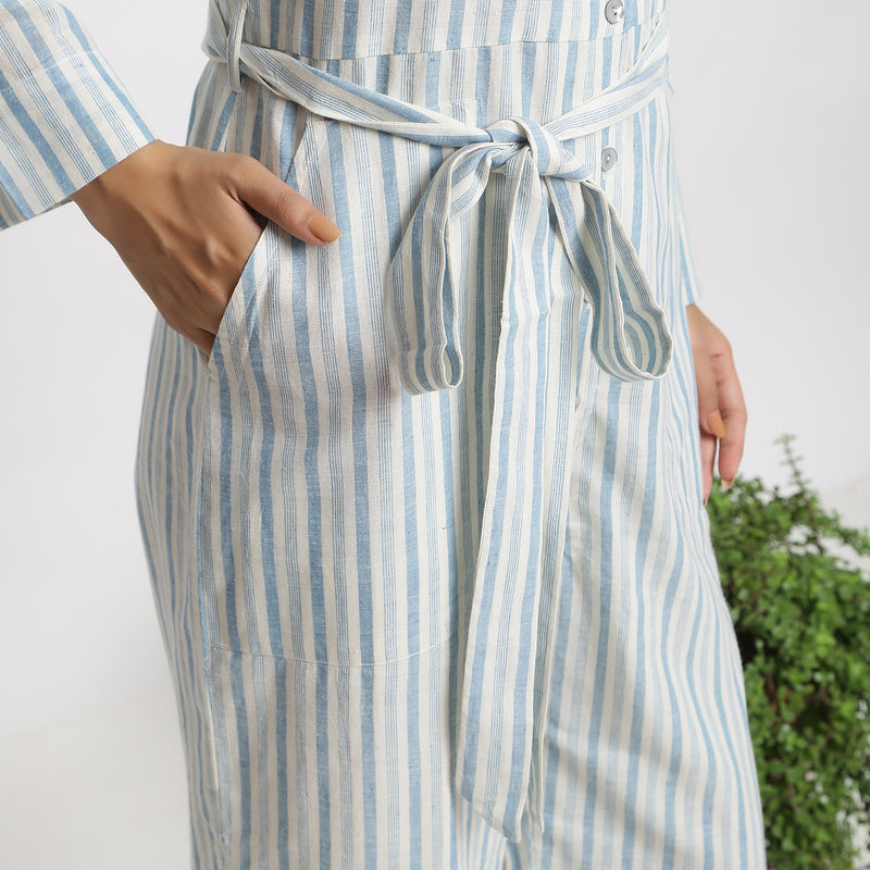 Close View of a Model wearing Blue Handspun Button-Down Overall