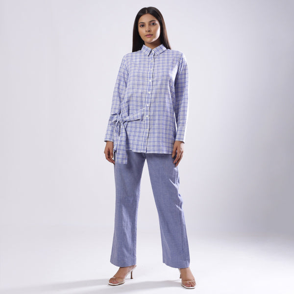 Front View of a Model wearing Blue Checkered Handspun Tie Up Shirt