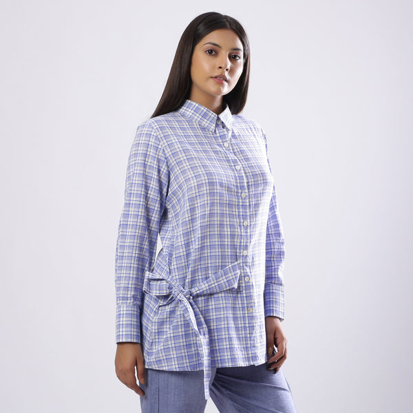 Right View of a Model wearing Blue Handspun Checkered Tie-up Shirt