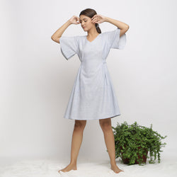 Front View of a Model wearing Blue Handspun Paneled A-Line Dress