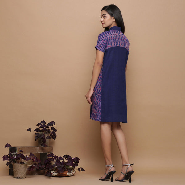 Back View of a Model wearing Ikat Handspun Button-Down Shirt Dress