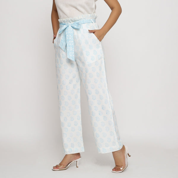Left View of a Model wearing White Block Printed Paperbag Pant