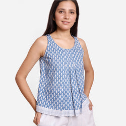 Front View of a Model wearing Block Printed A-Line Cotton Tank Top