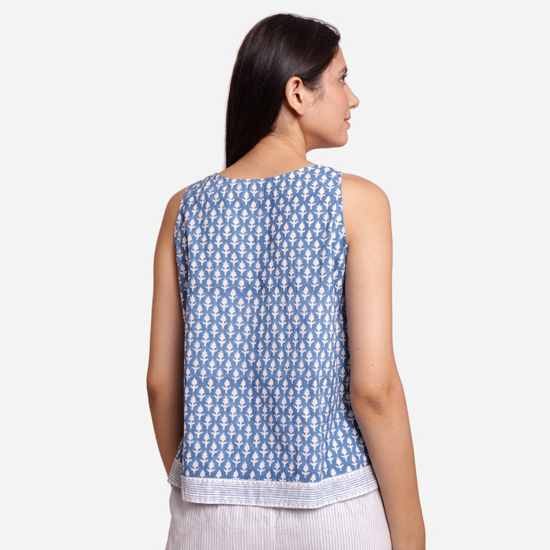 Back View of a Model wearing Block Printed A-Line Cotton Tank Top