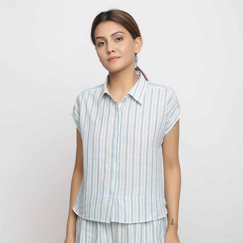 Front View of a Model wearing Blue Handspun Striped Button-Down Shirt