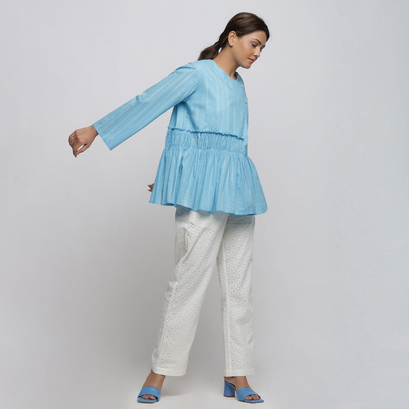Right View of a Model wearing Blue Tie-Dyed Asymmetrical Outerwear