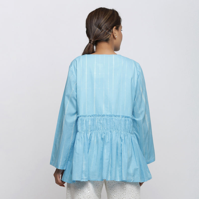 Back View of a Model wearing Blue Tie-Dyed Asymmetrical Outerwear