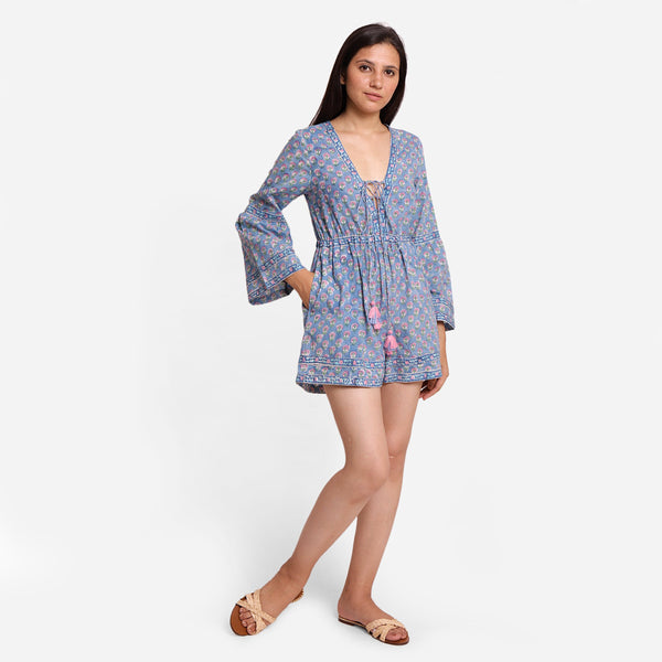 Front View of a Model wearing Sanganeri Hand Block Print Short Playsuit