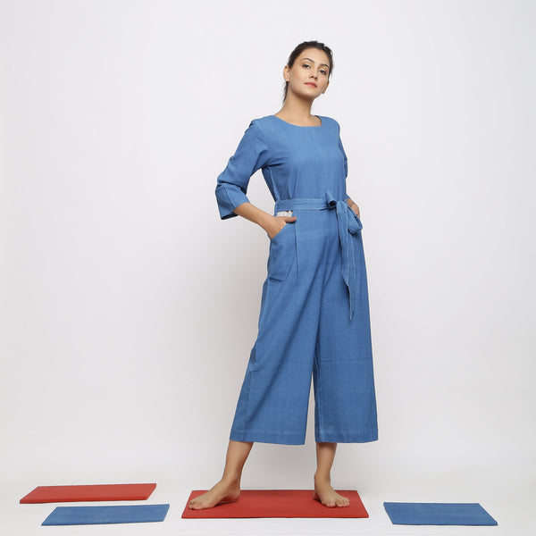Front View of a Model wearing Blue Vegetable-Dyed Straight Jumpsuit
