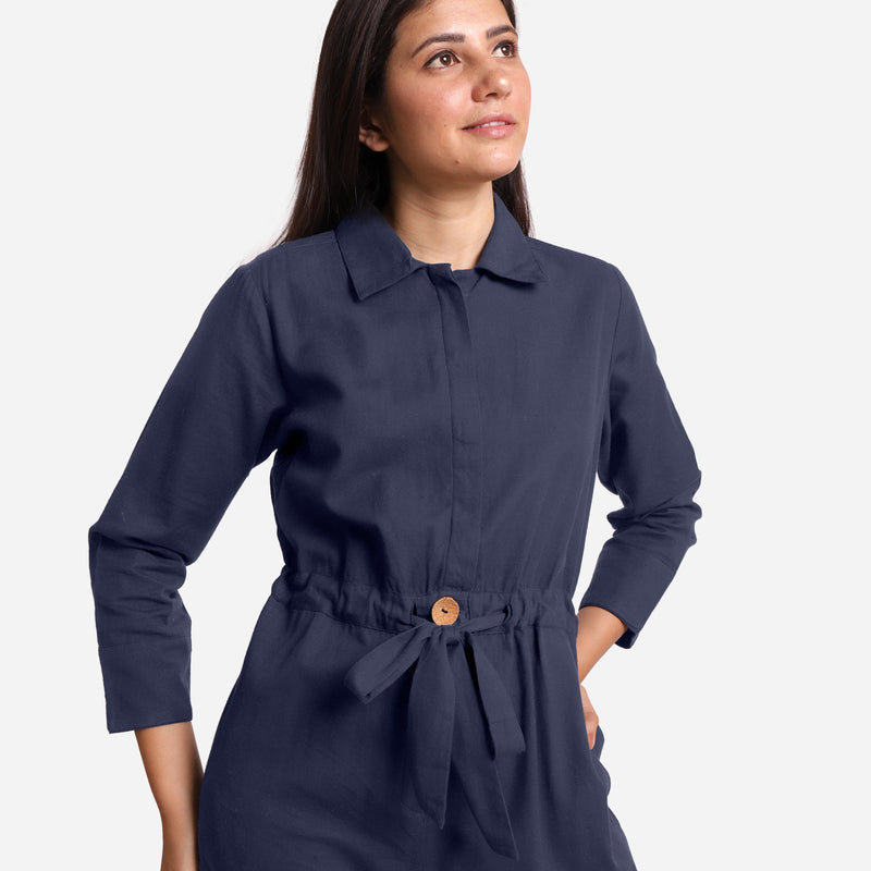 Front Detail of a Model wearing Blue Wide Legged Cotton Overall