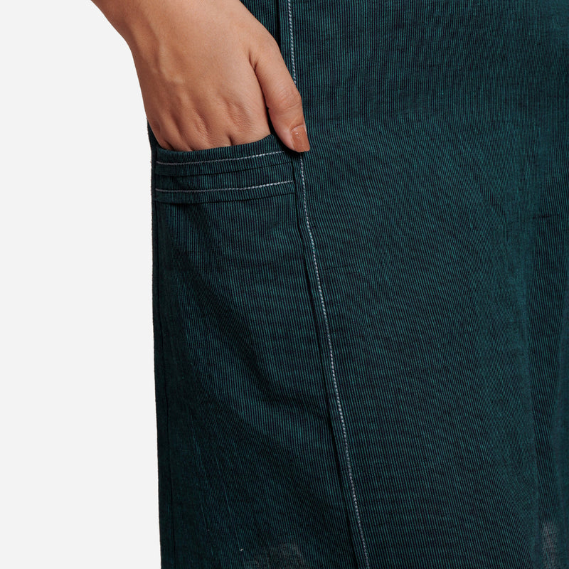 Close View  of a Model wearing Bottle Green Comfort-Fit Pencil Skirt