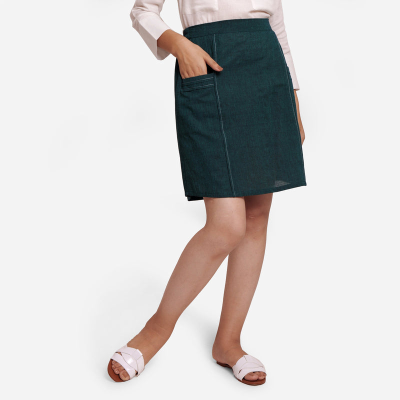Front View of a Model wearing Bottle Green Comfort-Fit Pencil Skirt
