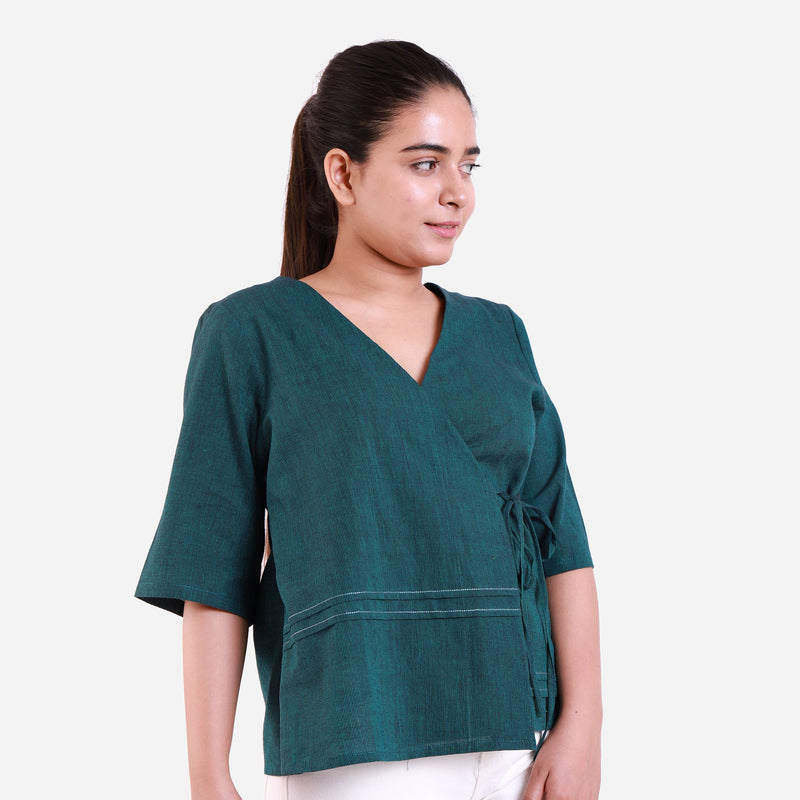 Right View of a Model wearing Bottle Green Mangalgiri Wrap Top