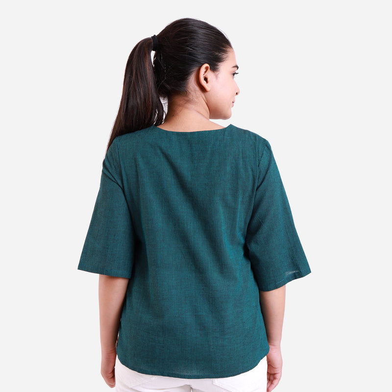 Back View of a Model wearing Bottle Green Mangalgiri Wrap Top