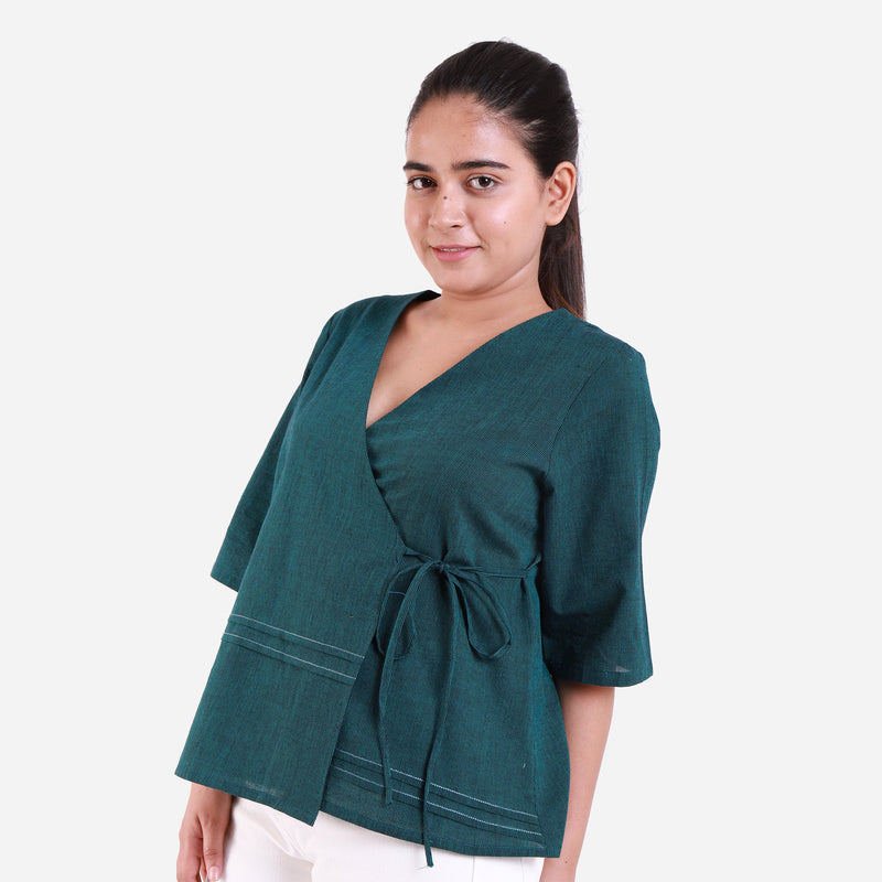Left View of a Model wearing Bottle Green Mangalgiri Wrap Top