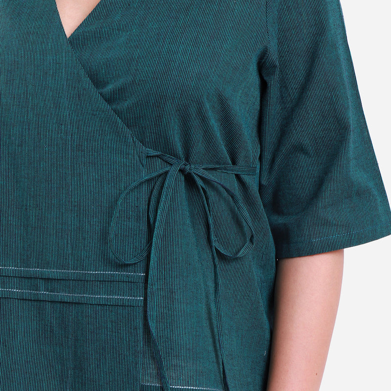 Front Detail of a Model wearing Bottle Green Mangalgiri Wrap Top