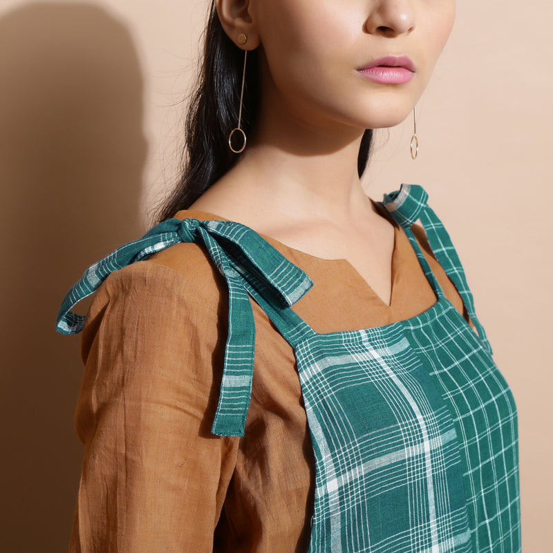 Front Detail of a Model wearing Bottle Green Cotton Ankle-Length Dungaree