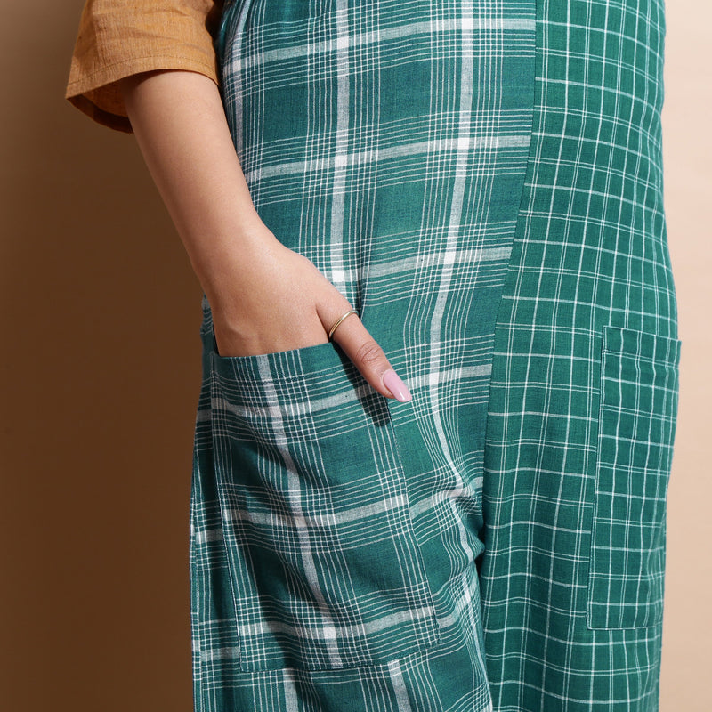 Close View of a Model wearing Bottle Green Cotton Ankle-Length Dungaree