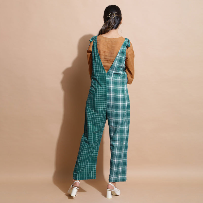 Back View of a Model wearing Bottle Green Cotton Ankle-Length Dungaree