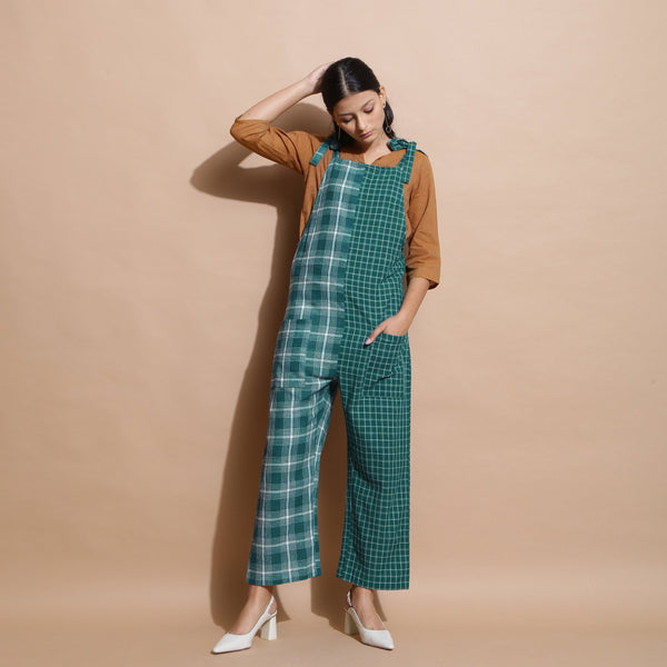 Front View of a Model wearing Bottle Green Cotton Ankle-Length Dungaree