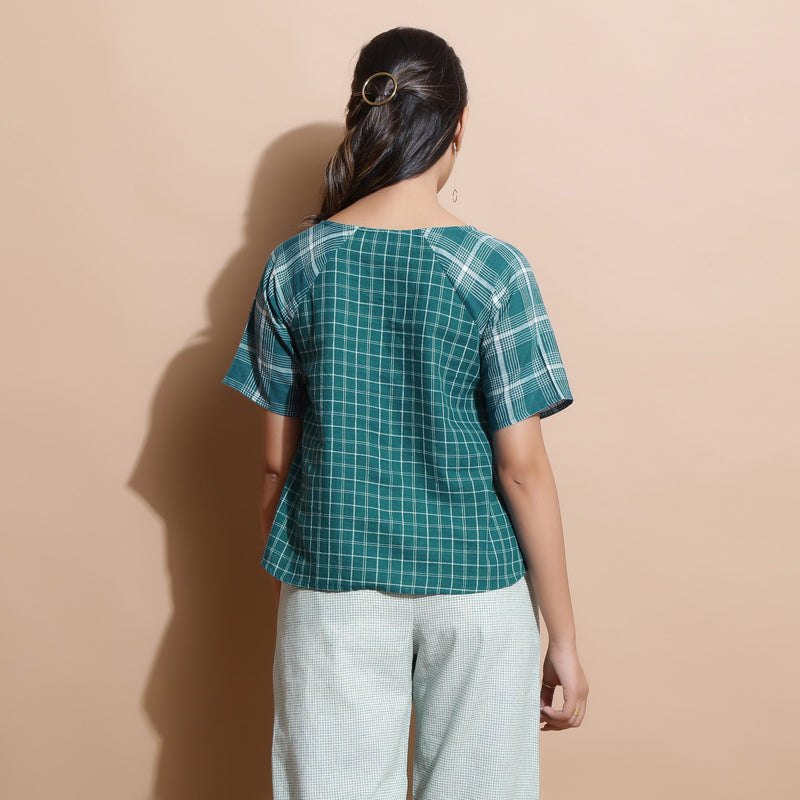 Back View of a Model wearing Bottle Green Handspun Straight Top