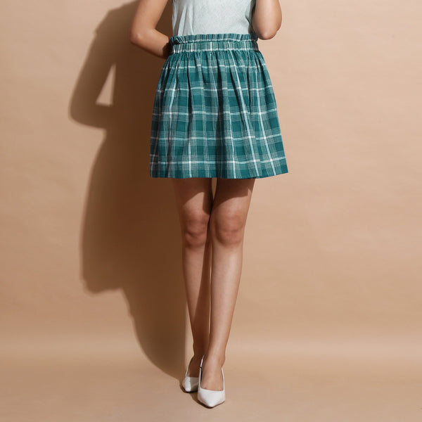 Front View of a Model wearing Green Handspun Paperbag Check Skirt
