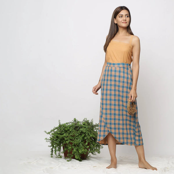 Front View of a Model wearing Bottle Green Handspun Wrap Maxi Skirt