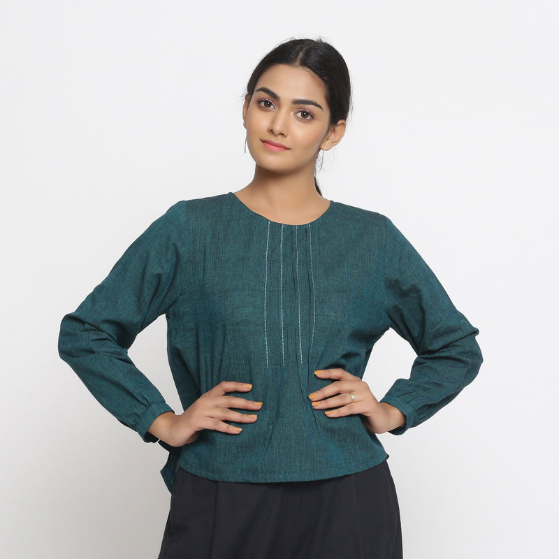 Front View of a Model wearing Bottle Green Cotton Striped High Low Top