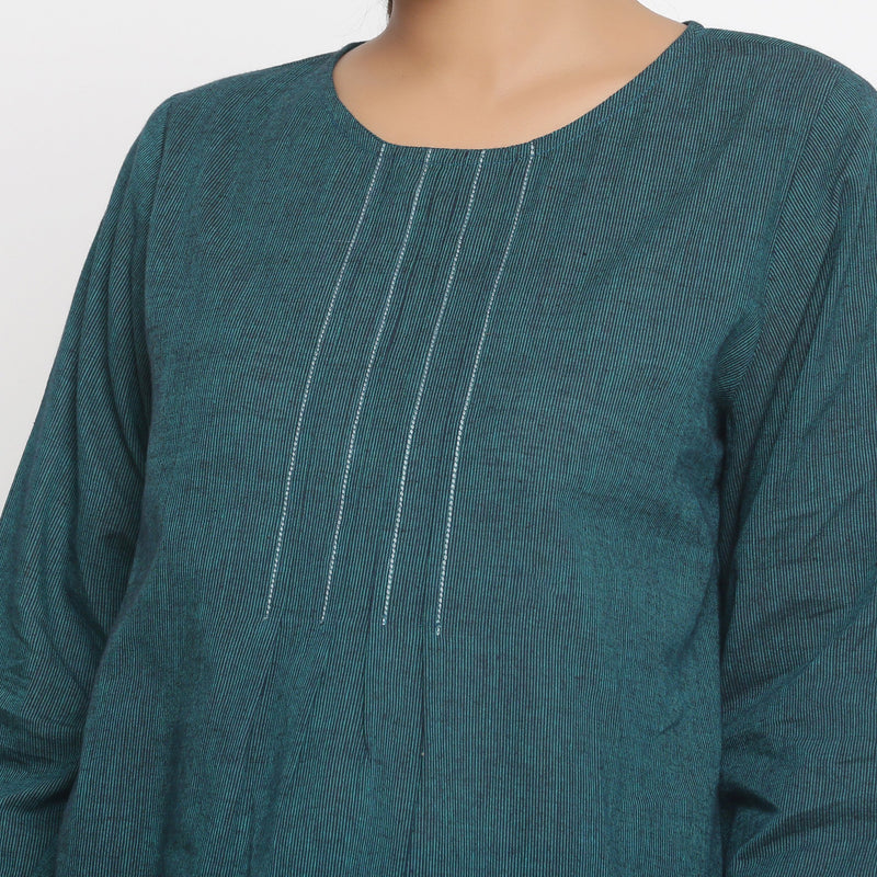 Front Detail of a Model wearing Bottle Green Cotton Striped High Low Top