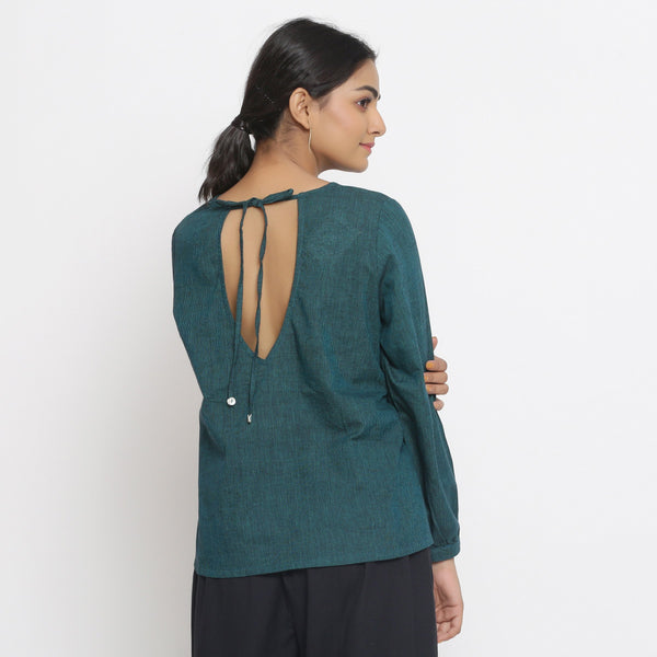 Back View of a Model wearing Bottle Green Cotton Striped High Low Top