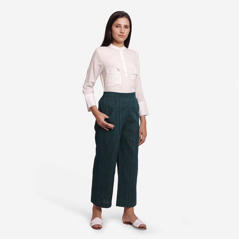 Front View of a Model wearing Bottle Green Mid Rise Straight Fit Pant